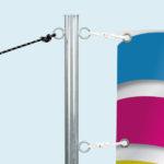 ExpoDruck Banner mit Spannpfosten druck bedruckt detail system anbringung bespannung ösen