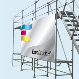 ExpoDruck Baugerüst Blache Bauwerbung Geruestbau druck bedruckt