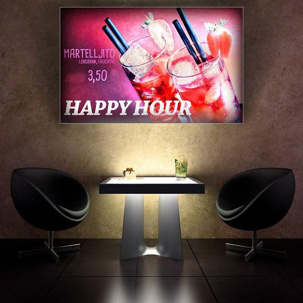 ExpoDruck Leuchtkasten Quer druck bedruckt happy hour