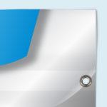 ExpoDruck Plachen für Bauzäune druck bedruckt detail ösen verarbeitung hohlsaum kanten