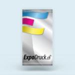 ExpoDruck Stoffbanner XL im Hochformat mit Ösen Seitenkanten gesäumt bedruckt druck