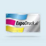 ExpoDruck Stoffbanner XL im Querformat mit Ösen Kanten gesäumt druck bedruckt