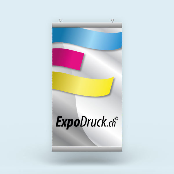 ExpoDruck Stoffhänger XL mit Alu-Kederprofil Hochformat gesäumt druck bedruckt
