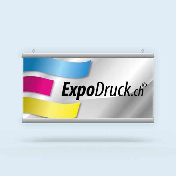 ExpoDruck Stoffhänger XL mit Alu-Kederprofil Querformat gesäumt druck gedruckt