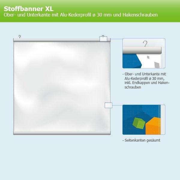 ExpoDruck Stoffhänger XL mit Alu-Kederprofil Querformat gesäumt skizze