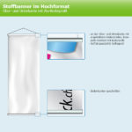 ExpoDruck Stoffhänger bis 8 m² mit Beleistung oberkante unterkante alu-kederprofil skizze