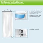ExpoDruck Stoffhänger bis 8 m² mit Beleistung oberkante unterkante holzstab 20 rund