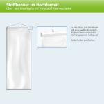 ExpoDruck Stoffhänger bis 8 m² mit Beleistung oberkante unterkante kunststoff-klemmschiene skizze