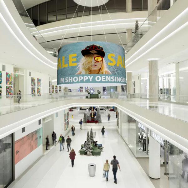 ExpoDruck Deckenhänger Hänger rund Objekt aufhängen 3D Werbung Einkaufszenter Shoppingcenter Laden Decke Geschäft Werbung Druck