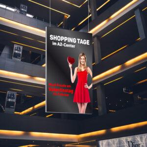 ExpoDruck Deckenhänger Hänger Spannrahmen Aluprofil Rahmen Druck aufhängen Werbung Mall Fahne Shoppingcenter