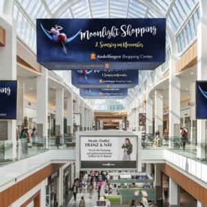 ExpoDruck Deckenhänger Hänger rund Objekt aufhängen 3D Werbung Einkaufszenter Shoppingcenter Laden Decke Geschäft bogen halbrund Aluprofil quadrat Würfel Werbung Druck