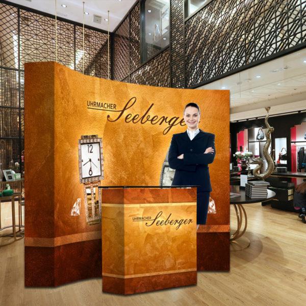 ExpoDruck PopUp Display gebogen rund Messewand Wand Druck bedruckt Ausstellung Messebau halbrund