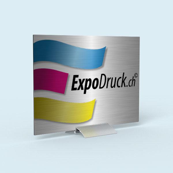 ExpoDruck Klemmständer TableTopper alu aluminium tisch lasierend druck bedruckt