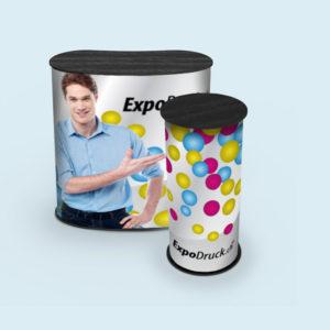 ExpoDruck Promotion Counter Klett druck bedruckt theke messe stand elipse gebogen rund
