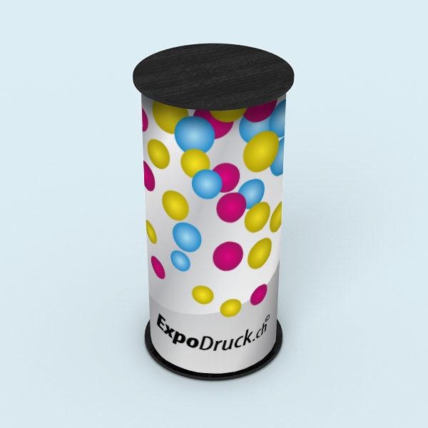 ExpoDruck Promotion Counter Klett druck bedruckt theke messe stand rund