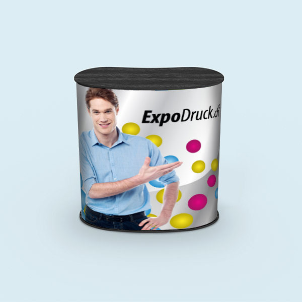 ExpoDruck Promotion Counter Klett druck bedruckt theke messe stand elipse gebogen