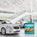 ExpoDruck Lamellen Counter theke druck bedruckt elipse gebogen autohaus