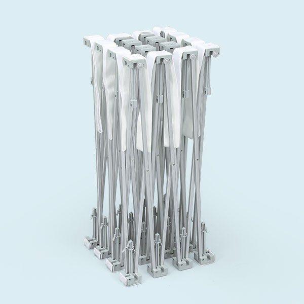 ExpoDruck PopUp Klett Messewand Druck bedruckt detail system spinne geschlossen zusammengeklappt