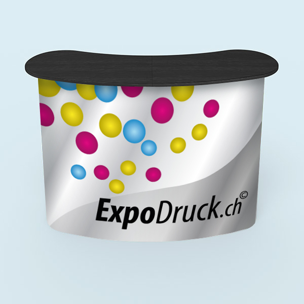 ExpoDruck Promotion Counter magnet druck bedruckt theke messe stand elipse gebogen