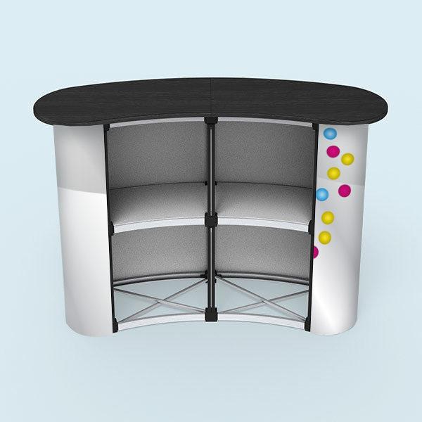 ExpoDruck Promotion Counter magnet druck bedruckt theke messe stand elipse gebogen detail rückseite
