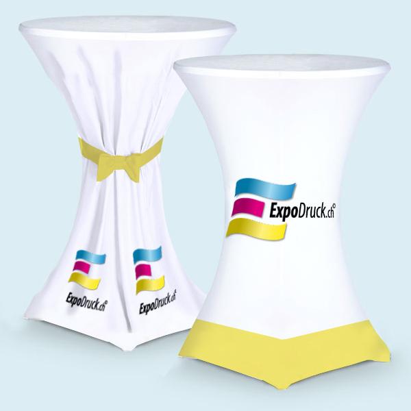 ExpoDruck Stehtischhussen druck bedruckt elastisch gebunden schleife