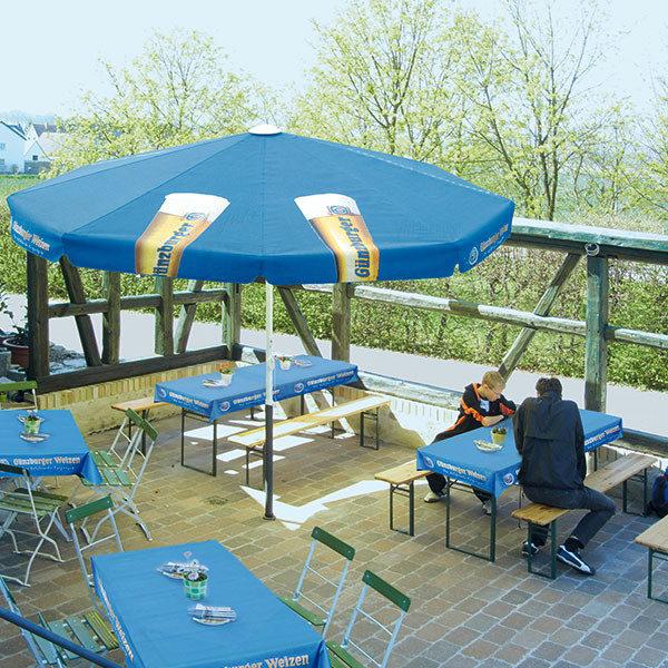 ExpoDruck Tischtuch rechteckig bedruckt druck schirm festbänke festtische garten restaurant terasse