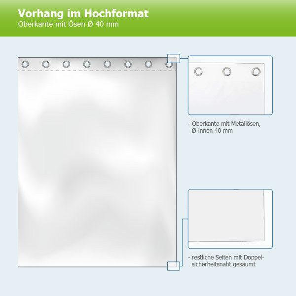 ExpoDruck Vorhänge Hochformat Oberkante mit Ösen 40