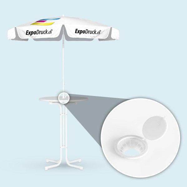 ExpoDruck Sonnenschirmstehtisch 70cm mit Loch mit  Schirm elastisch bestpannt husse bedruckt schirm druck