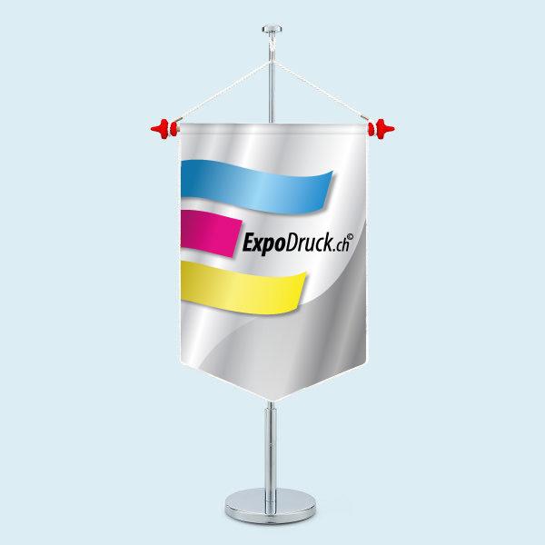 ExpoDruck Wimpel TableTopper rechteckig gespitzte Unterkante mit Kordel druck bedruckt
