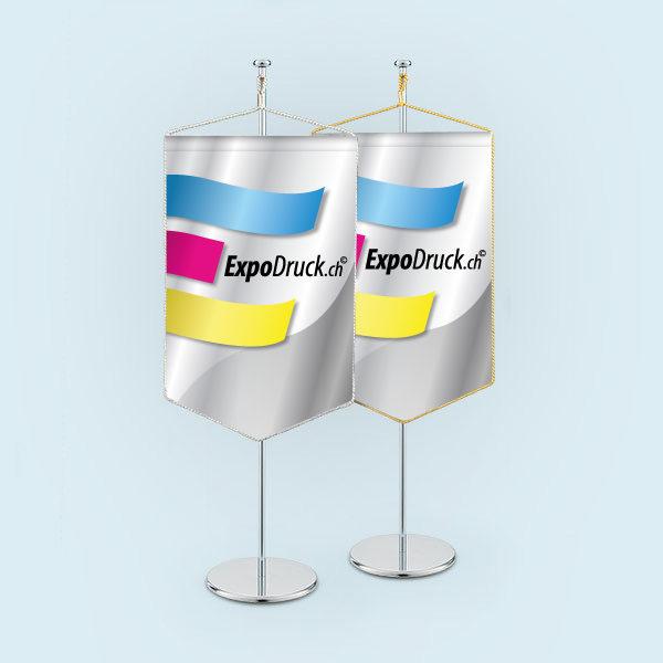 ExpoDruck Wimpel TableTopper rechteckig gespitzte Unterkante mit Kordel 6 druck bedruckt