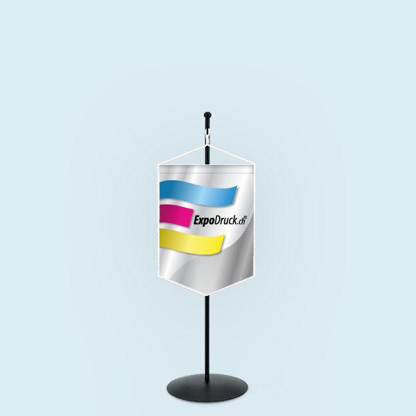 ExpoDruck Wimpel TableTopper rechteckig gespitzte Unterkante – mit Kordel druck bedruckt