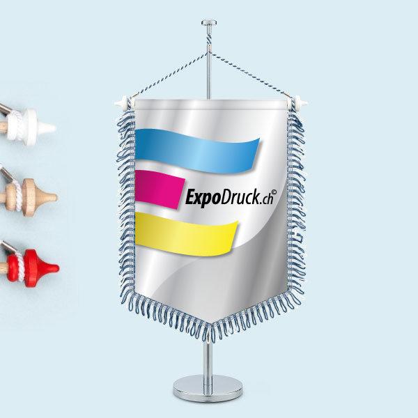 ExpoDruck Wimpel TableTopper rechteckig gespitzte Unterkante mit Schlaufenfransen druck bedruckt
