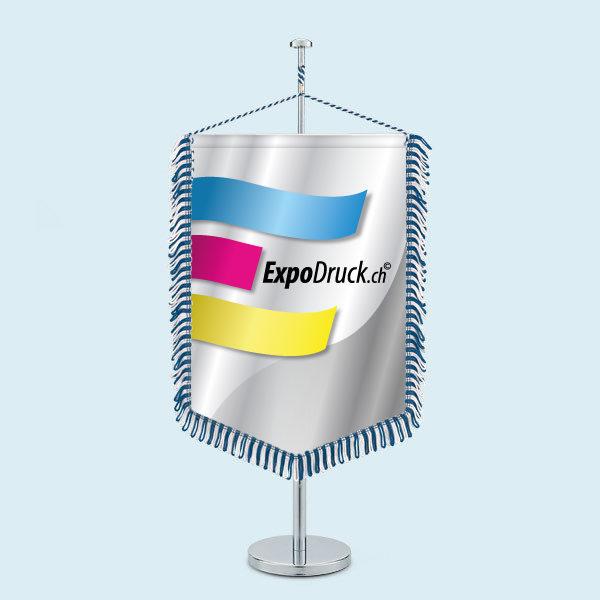 ExpoDruck Wimpel TableTopper  rechteckig gespitzte Unterkante  mit Schlaufenfranse druck bedruckt