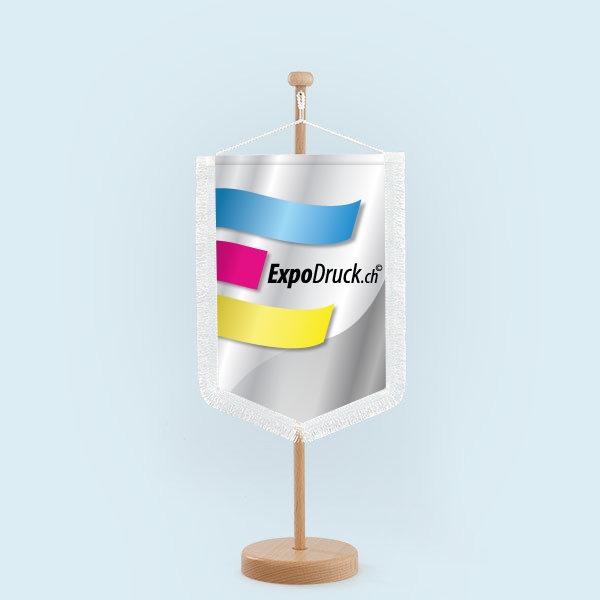 ExpoDruck Wimpel TableTopper dreckig spitzkante gerade kante ausgefrans saum geschnitten mit kordel hloz alu