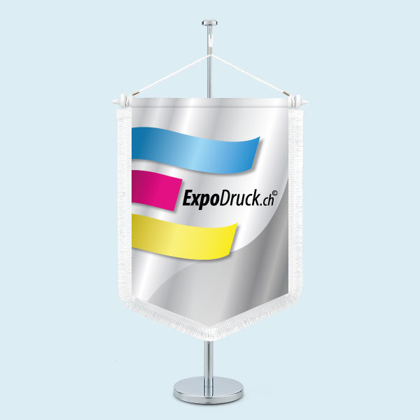 ExpoDruck Wimpel TableTopper rechteckig gespitzte Unterkante mit Schnittfransen druck bedruckt