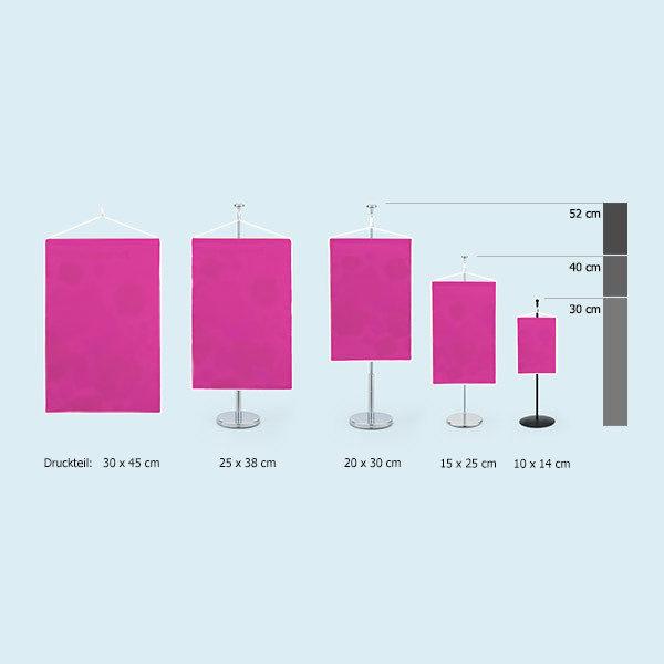 ExpoDruck Wimpel TableTopper rechteckig mit Kordel grössen vergleich druck bedruckt