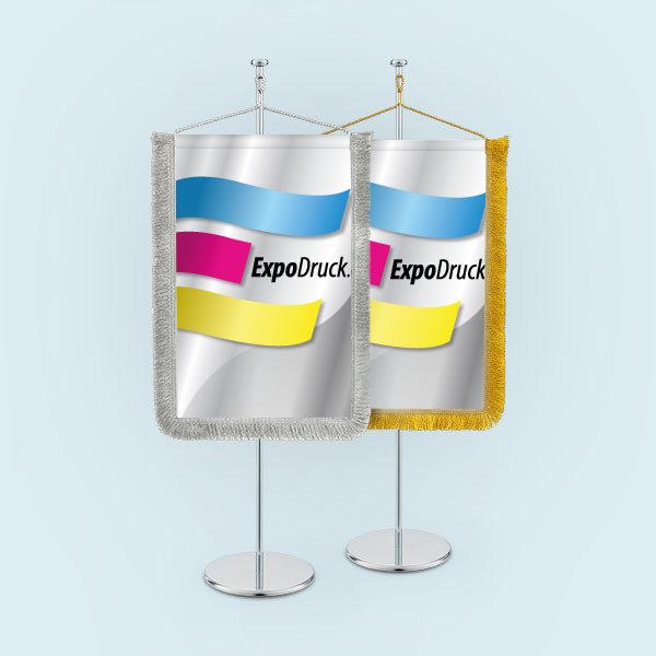 ExpoDruck Wimpel TableTopper rechteckig mit Schnittfransen 3 druck bedruckt