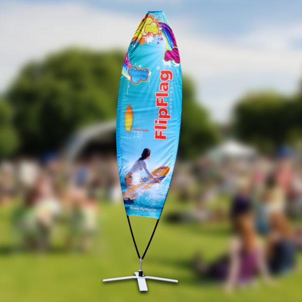 ExpoDruck FlipFlag Surfer Beachfahne Eventfahne Druck Fahnendruck Event Fahnen