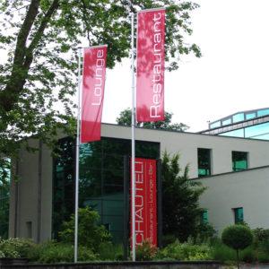 ExpoDruck Hochformatsfahnen Knatterfahnen-Fahnenfabrik Druck Fahnen Ausleger Fahnendruck