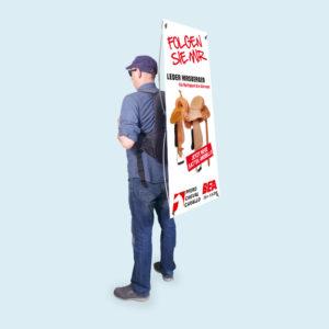 ExpoDruck Promo Rucksack Werbung Fahne Banner Druck bedruckt Promotions Rucksäcke