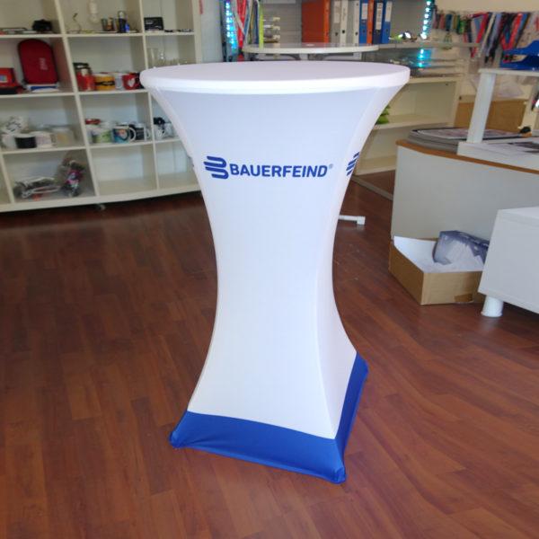 ExpoDruck Stehtisch Husse Strech Stoff Textil Druck bedruckt Tischchen