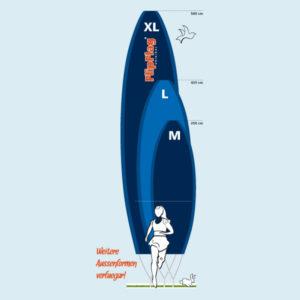 ExpoDruck FlipFlag Shape grössen surfer