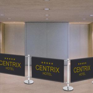 ExpoDruck Absperrsystem Personenleitsystem Hotel VIP Absperrung Abgrenzung mit Druck Einzäunung Zaun bedruckt