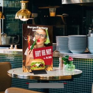 ExpoDruck Klemmdisplay Plattendruck Steller Schild Werbeschild Platte Tafel Ständer Druck Tischsteller Werbung