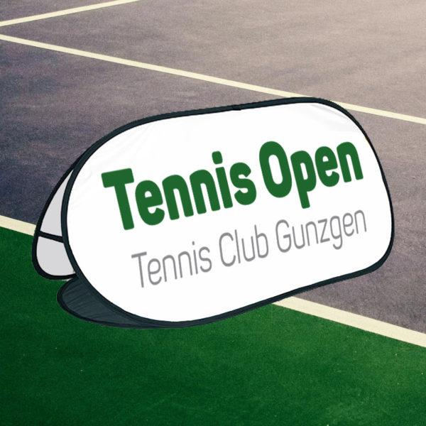 ExpoDruck PopOut Tennisplatz Werbung Tennis Sport Aufsteller Display selbst entfaltend Druck