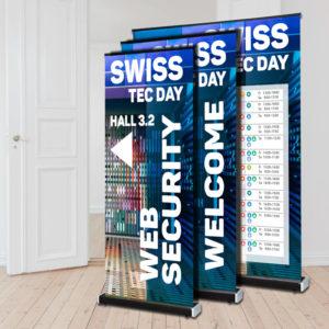 ExpoDruck Select Black schwarz Bespannung Display Druck bestellen druckt-aufrollen Ausstellung Messe Werbung Druckerei